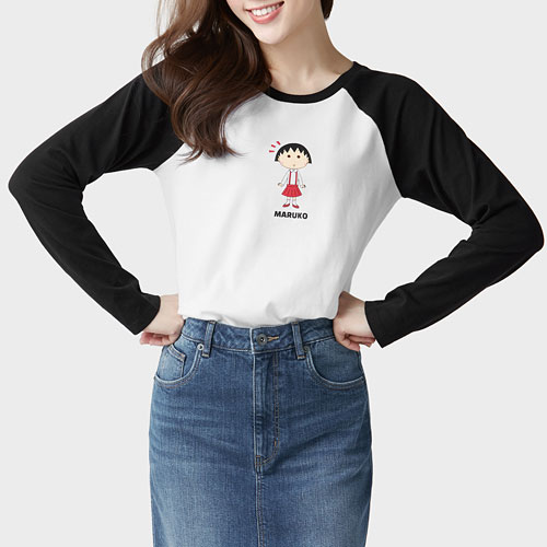 櫻桃小丸子拉克蘭長袖印花T恤-05-女