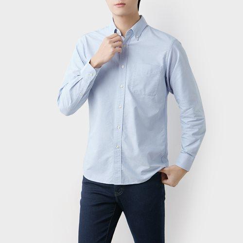 牛津長袖襯衫-男