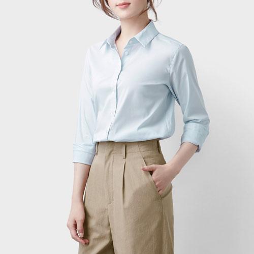 商務彈性長袖襯衫-女