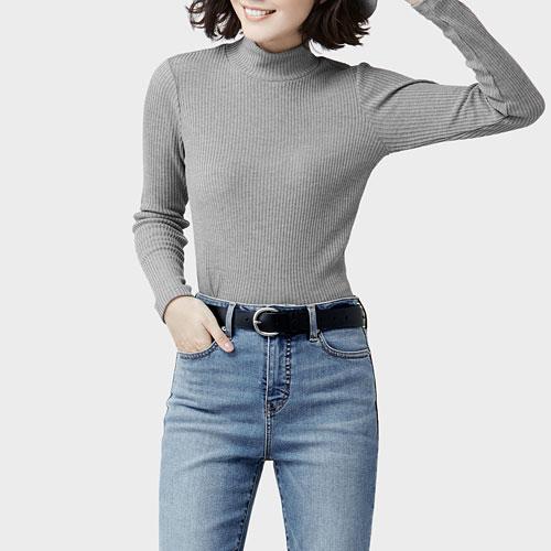 羅紋立領長袖T恤-女