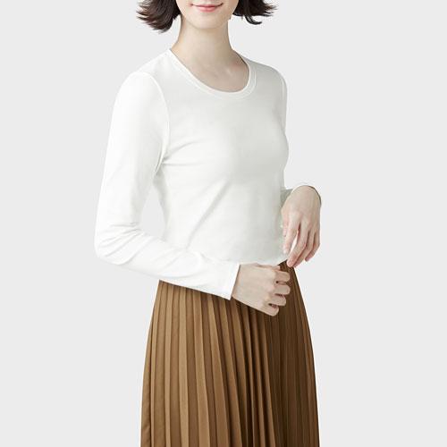 棉質羅紋圓領長袖T恤-女