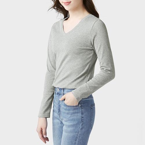 棉質羅紋V領長袖T恤-女