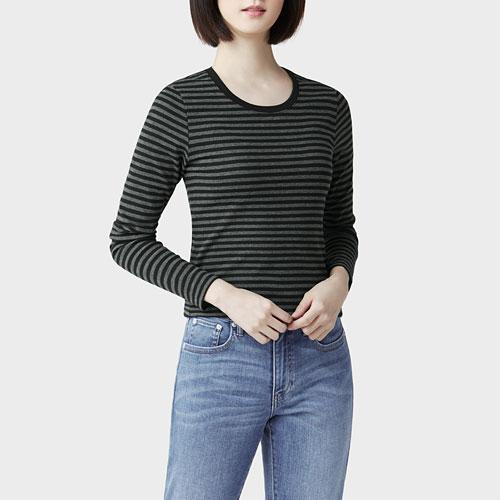 棉質羅紋條紋長袖T恤-女