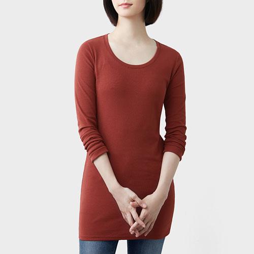 棉質羅紋長版T恤-女