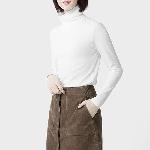 棉質羅紋高領T恤-女