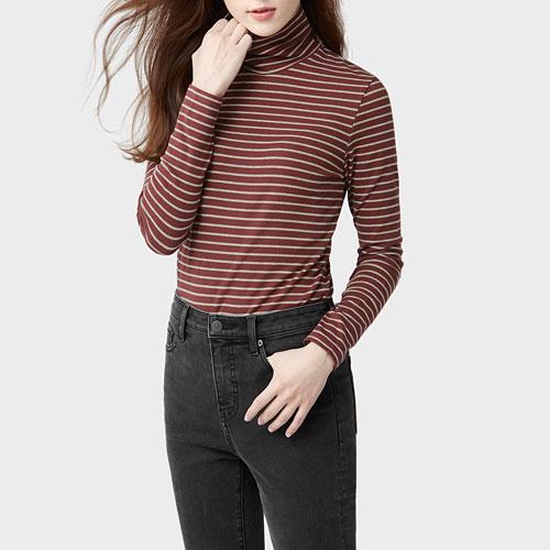 棉質羅紋條紋高領T恤-女