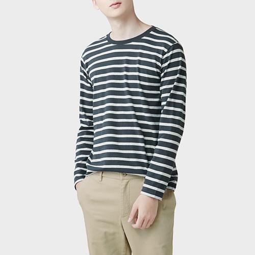 純棉條紋長袖T恤-男