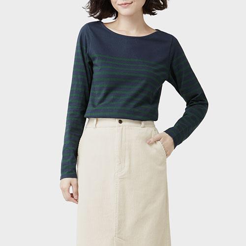純棉條紋寬領長袖T恤-女