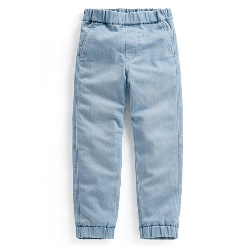 彈性牛仔保暖束口褲-童