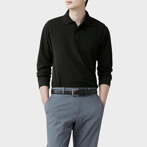 純棉長袖polo衫-男