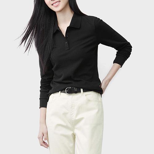 棉質彈性長袖polo衫-女