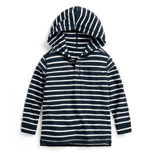 竹節棉條紋連帽開襟上衣-童