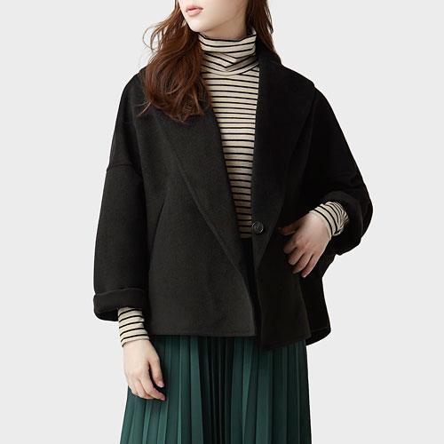 仿羊毛寬鬆短版大衣-女