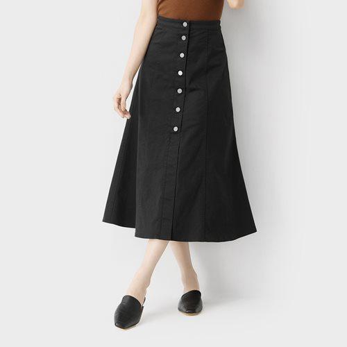 高腰卡其鈕釦長裙-女