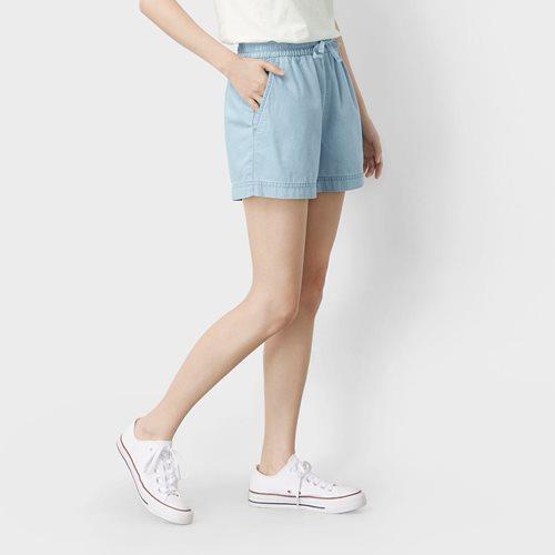 軟牛仔短褲-女