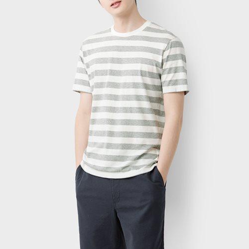 純棉條紋圓領T恤-01-男