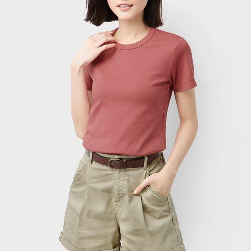 純棉厚實圓領T恤-女