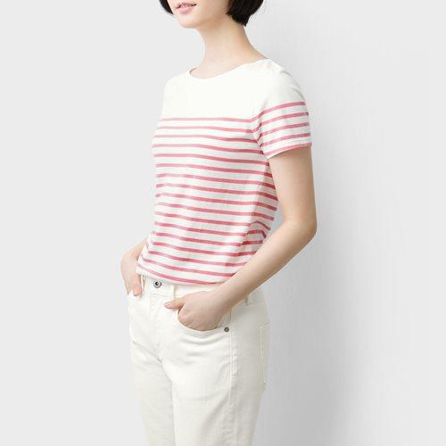 純棉條紋短袖T恤-01-女