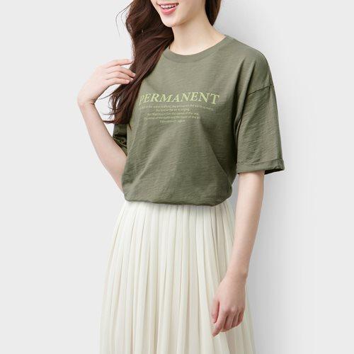 竹節棉寬版印花T恤-01-女