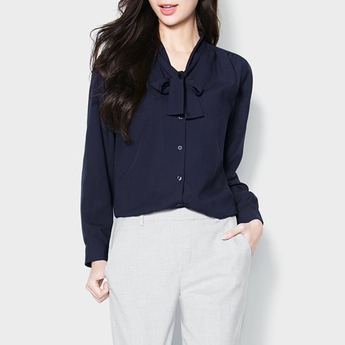 嫘縈領結長袖襯衫-女