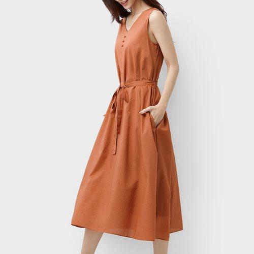 無袖綁帶洋裝-女