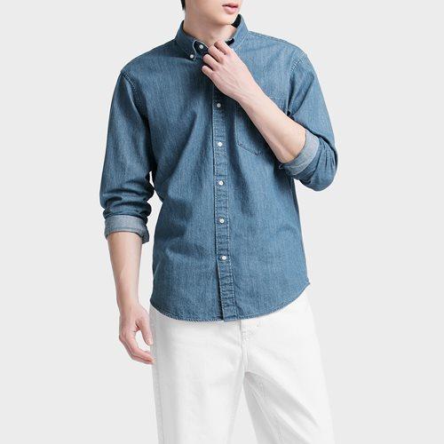 牛仔長袖襯衫-男
