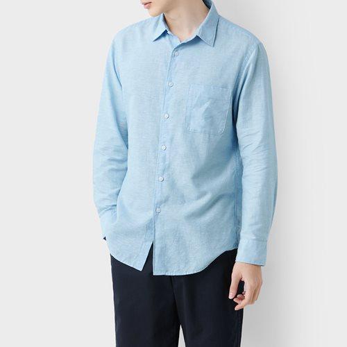 棉麻長袖襯衫-男