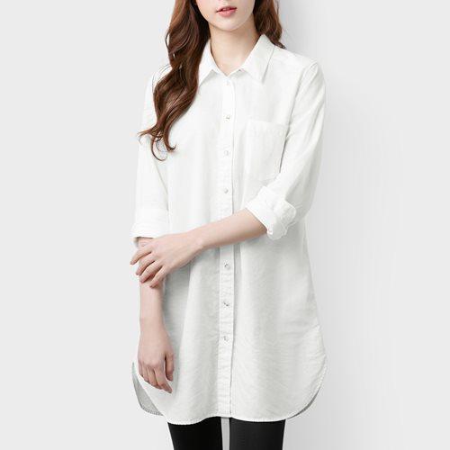 棉麻長版襯衫-女