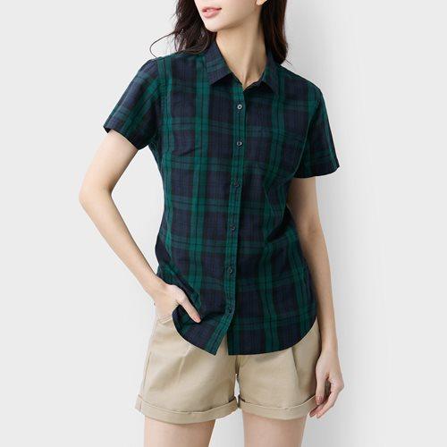 格紋短袖襯衫-女