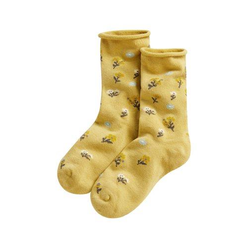 碎花捲邊襪-女