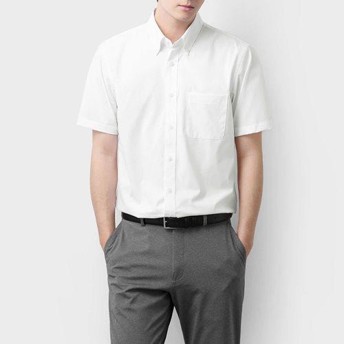 商務彈性短袖襯衫-男