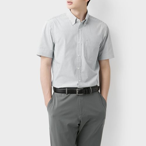 商務彈性條紋短袖襯衫-男
