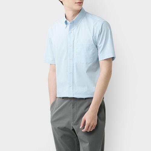 商務彈性格紋短袖襯衫-男
