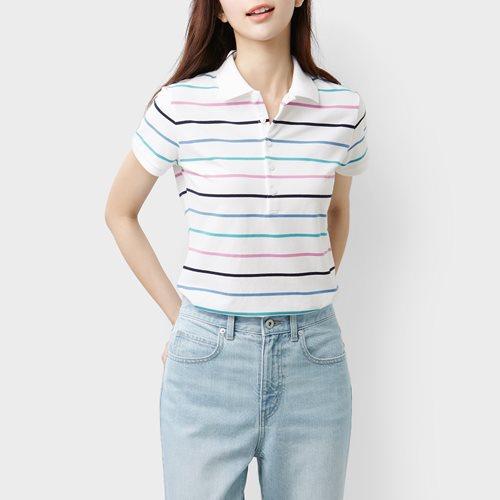 棉質網眼彈性條紋polo衫-女