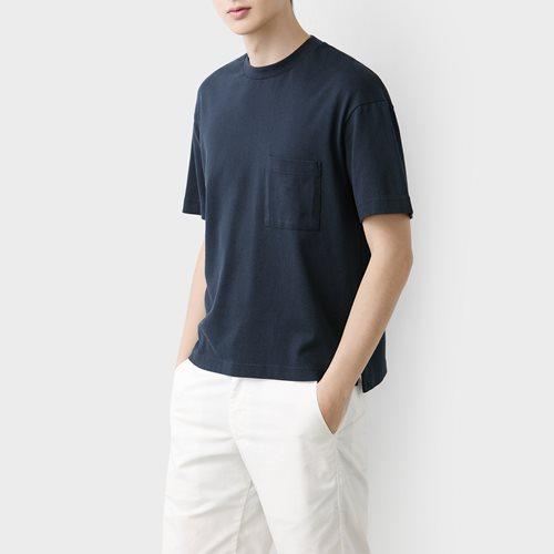 粗紡寬版口袋T恤-男