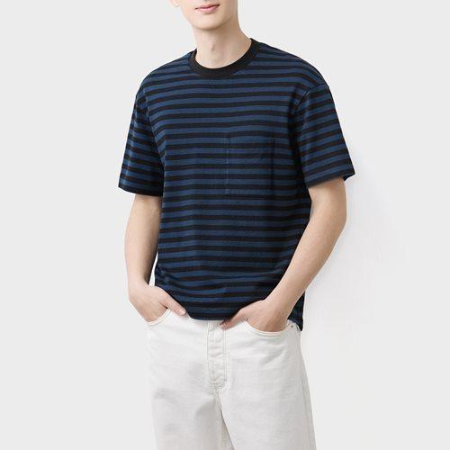 粗紡寬版條紋T恤-男