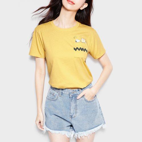 史努比系列口袋印花T恤-37-女