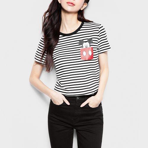 迪士尼系列條紋印花T恤-18-女