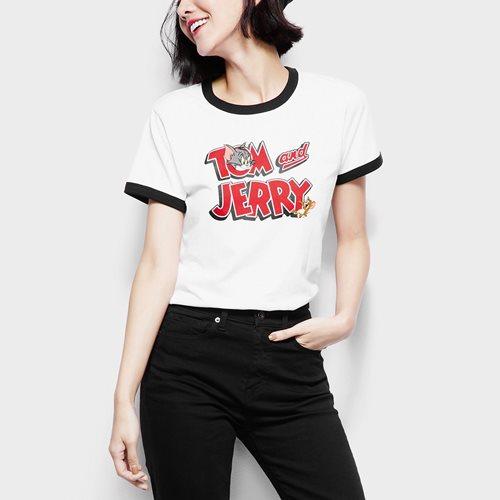 Tom & Jerry羅紋配色印花T恤-02-女