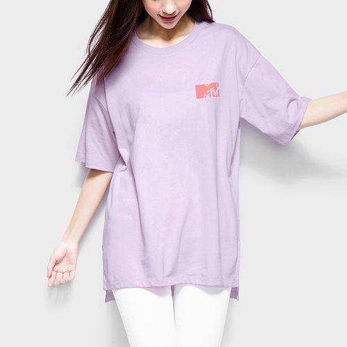 MTV寬長版印花T恤-04-女
