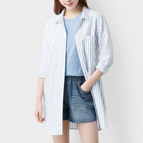 棉麻條紋長版襯衫-女
