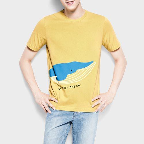鯨魚印花T恤-男