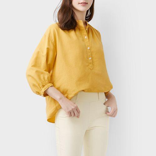 棉麻七分袖襯衫-女