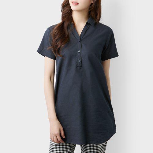 棉麻短袖長版襯衫-女