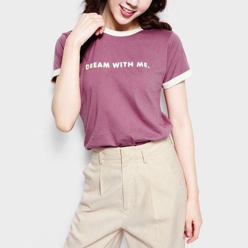 羅紋配色文字印花T恤-07-女