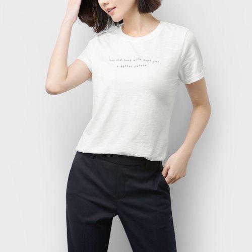 竹節棉文字印花T恤-02-女