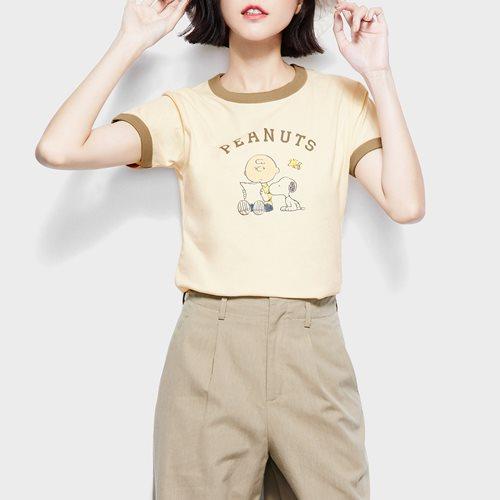 史努比系列羅紋配色印花T恤-25-女