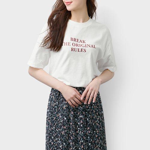 竹節棉寬版印花T恤-02-女