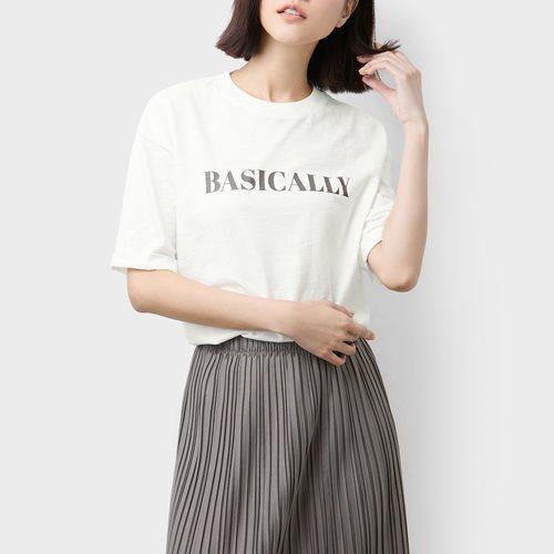 竹節棉寬版印花T恤-03-女