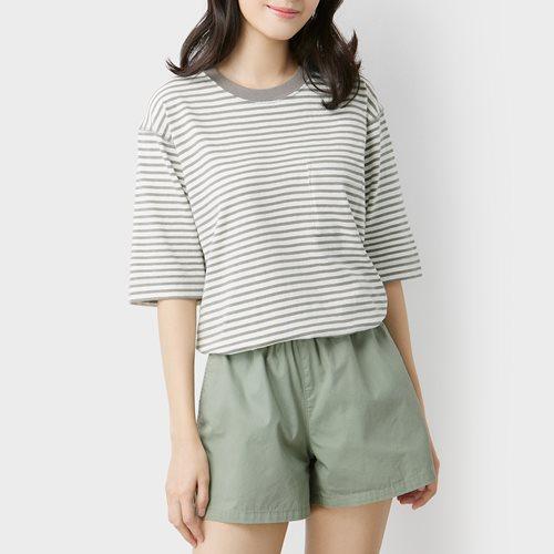 粗紡寬版條紋T恤-女